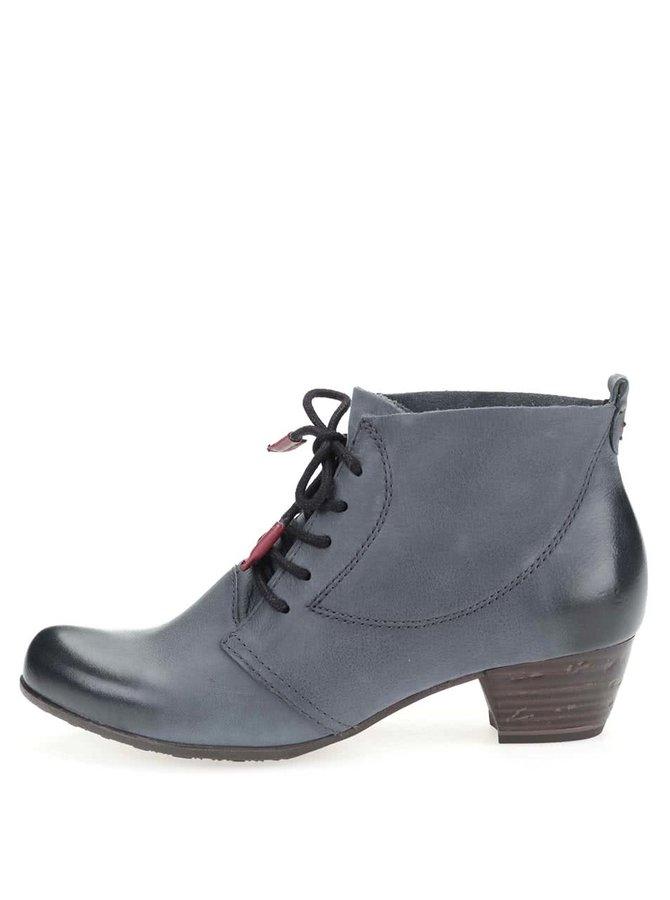 Modrosivé kožené členkové topánky na podpätku Tamaris