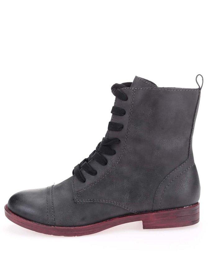 Sivé členkové topánky na šnúrovanie Tamaris