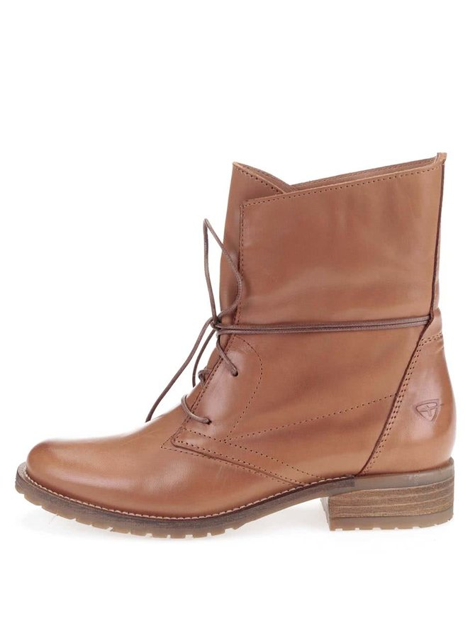 Hnědé kožené boty na šněrování Tamaris