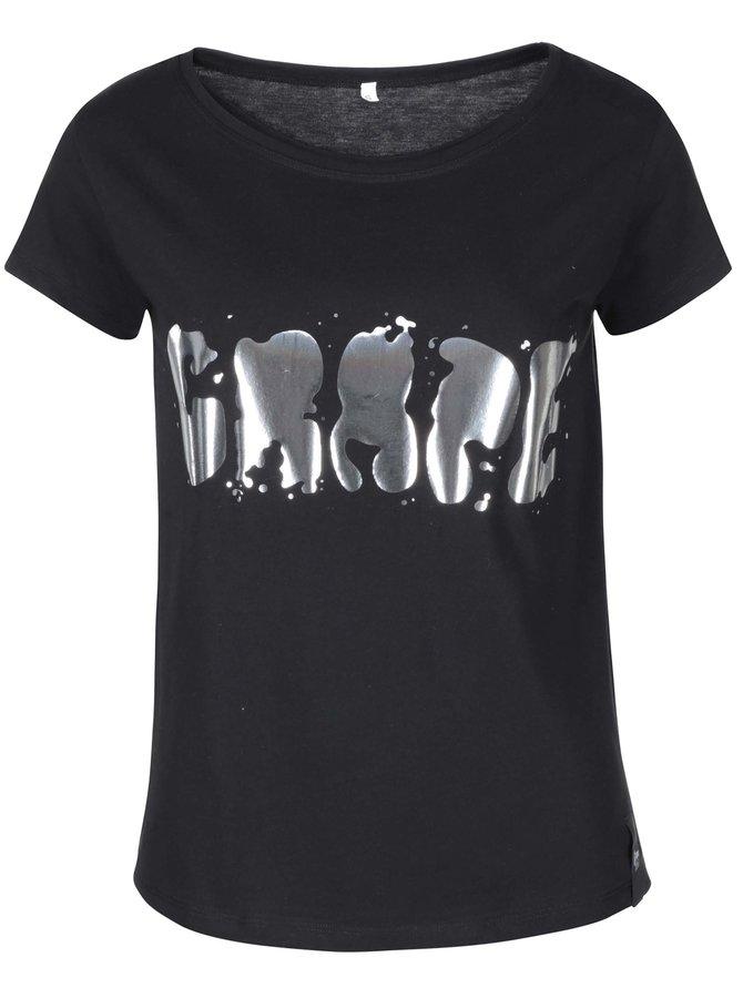 Čierne dámske tričko Grape Logo Square