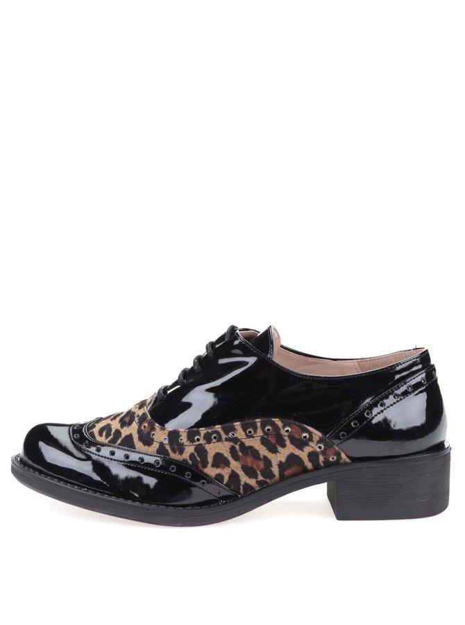 Černé brogue polobotky s leopardím vzorem na nízkém podpatku OJJU
