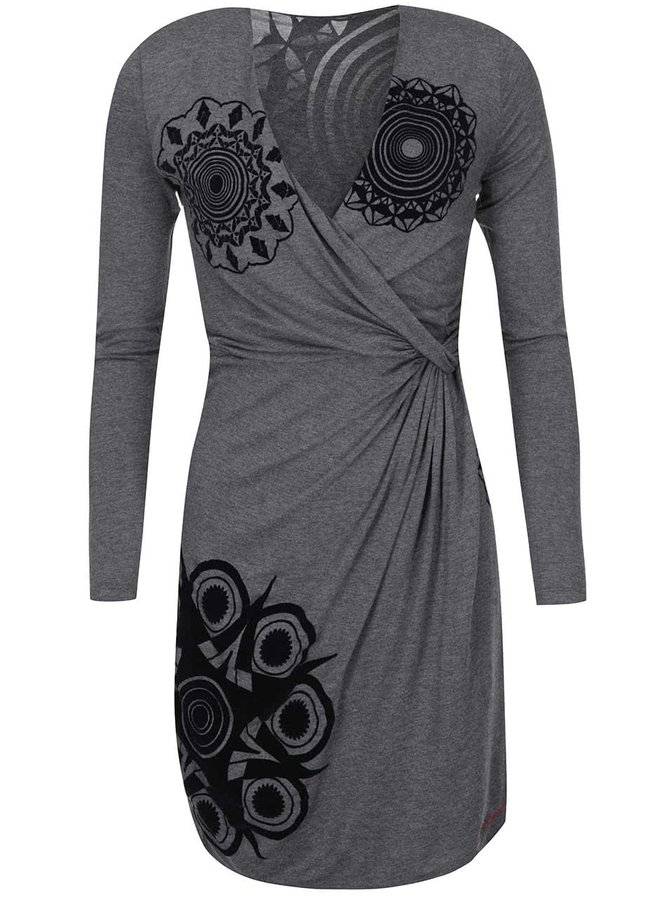 Šedé šaty se vzorem Desigual Celia