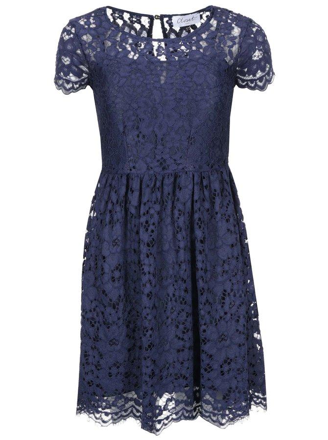 Tmavě modré krajkové šaty Closet