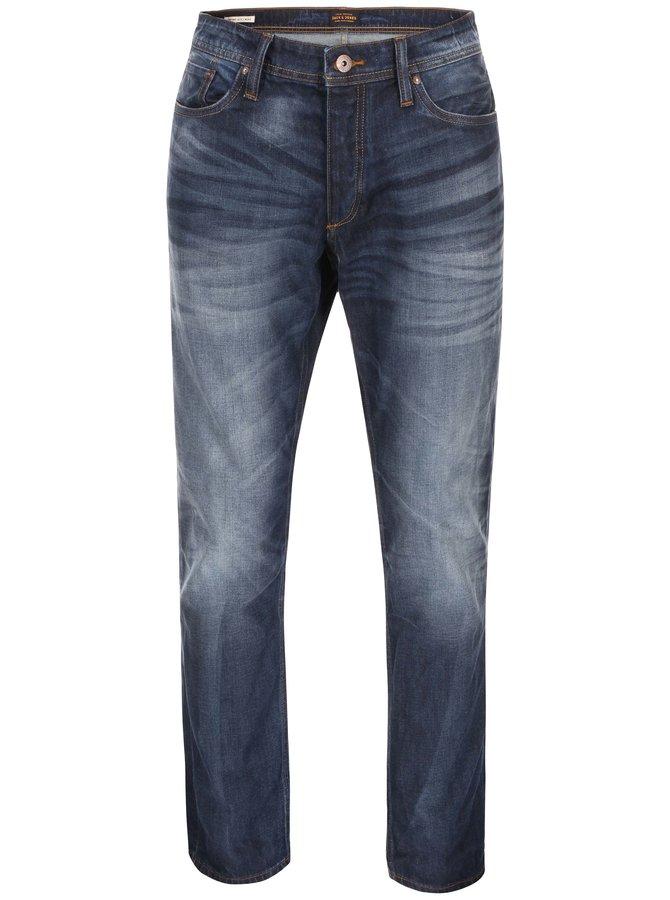 Modré comfort fit džíny se sepraným efektem Jack & Jones Mike