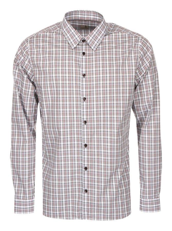 Šedo-vínová kostkovaná košile Seidensticker Modern Kent Slim Fit
