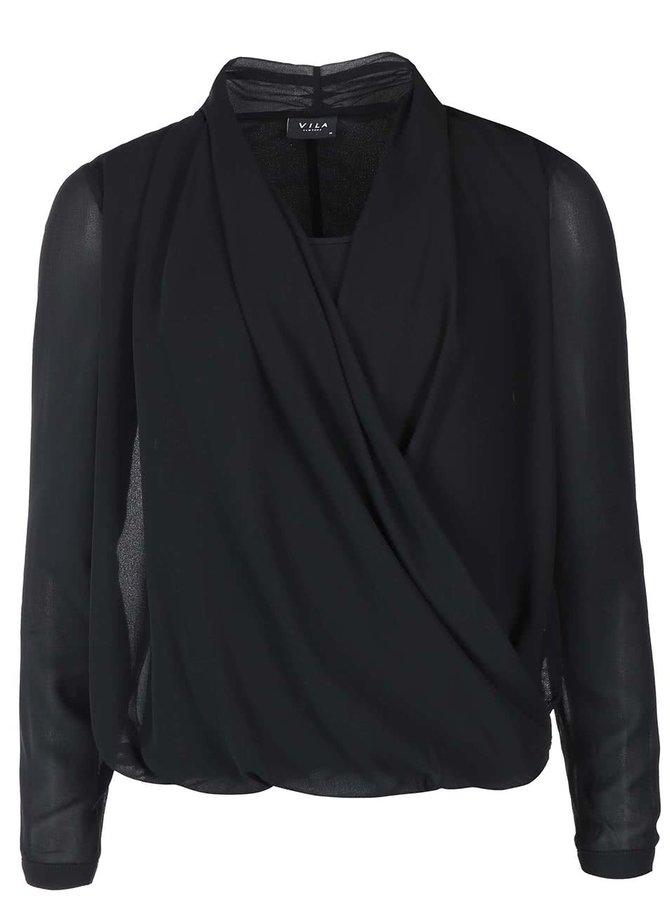 Bluză neagră cu mânecă lungă VILA Sandrine