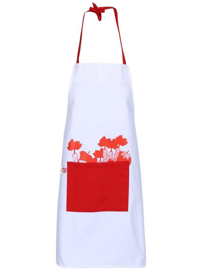 """""""Dobrá"""" červeno-biela kuchynská zástera s potlačou Zachráň jedlo"""