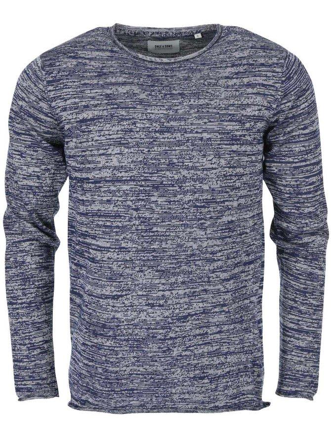 Sivo-modrý melírovaný sveter ONLY & SONS Satre