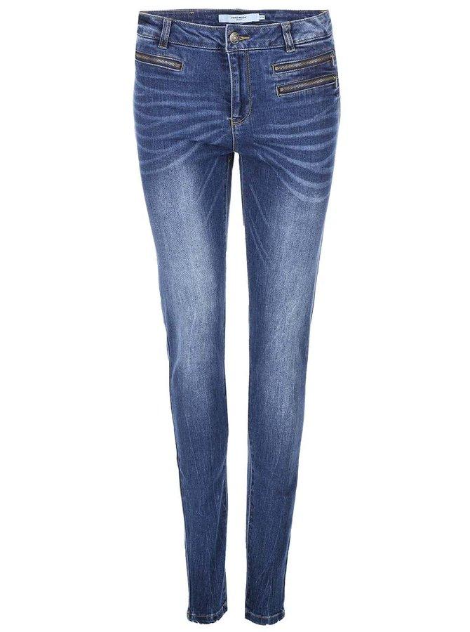 Jeanși Seven, de la VERO MODA, strâmți pe picior, cu fermoare decorative - albaștri