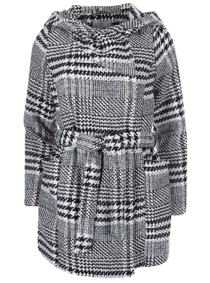 Čierno - biely kabát s kohuťou stopou VERO MODA Welling