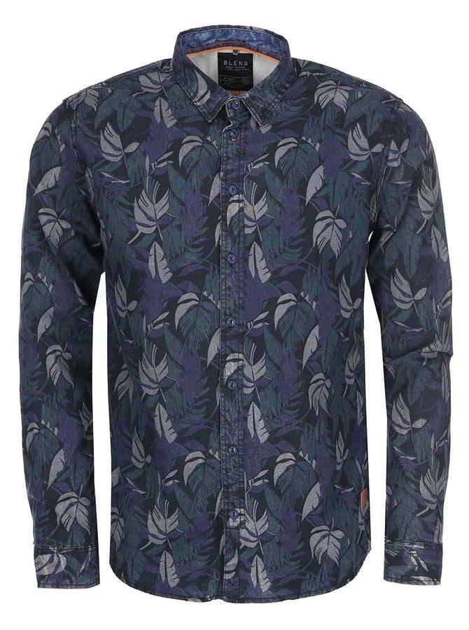 Černá košile s barevným vzorem palmových listů Blend