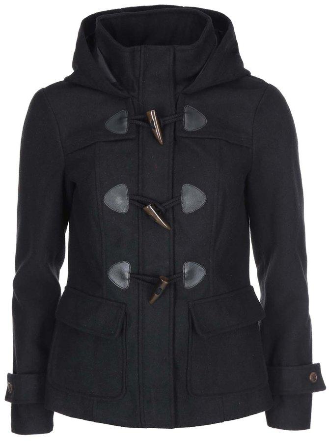 Čierny kratší kabát s kapucňou VERO MODA Mella