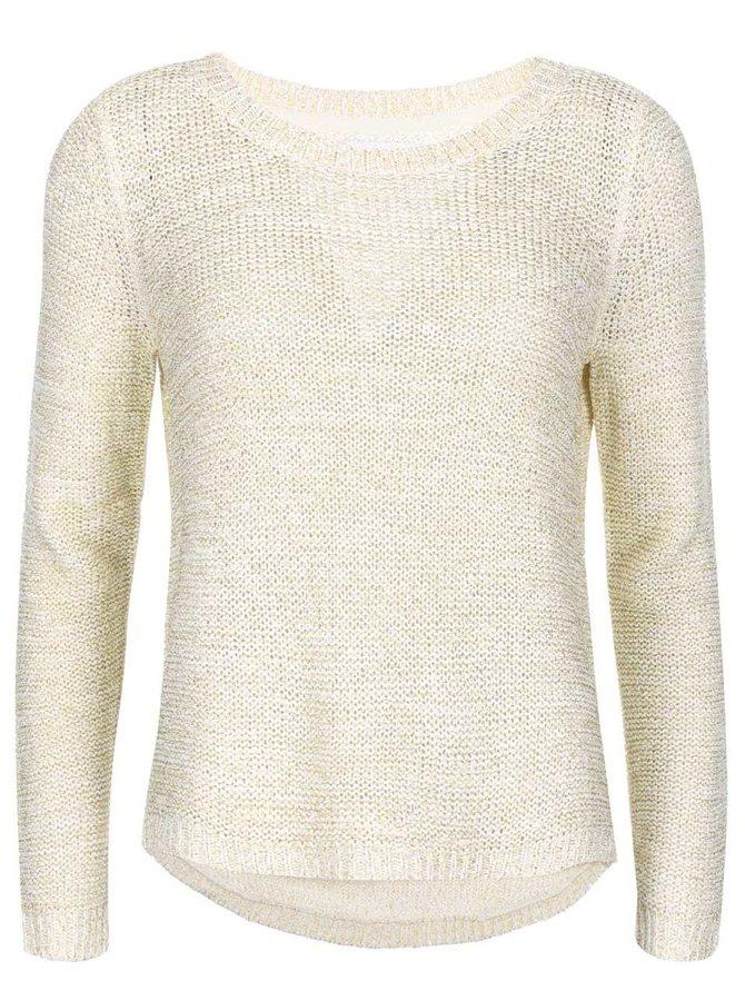 Krémový sveter so zlatým prešívaním ONLY Geeny