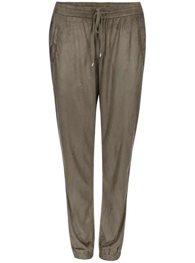 Voľnejšie kaki nohavice v semišovej úprave VILA Tristin