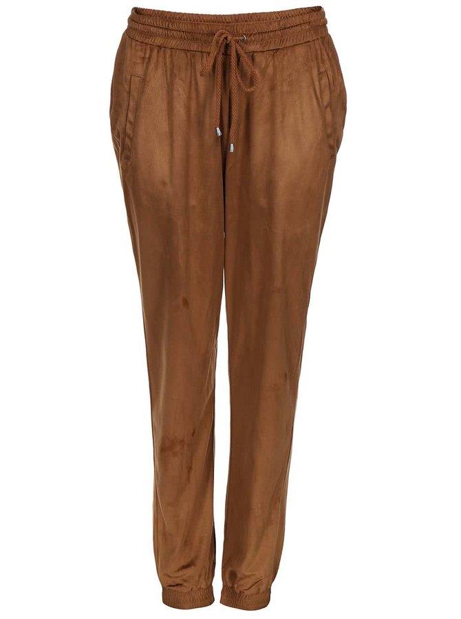 Hnedé voľnejšie nohavice v semišovej úprave VILA Tristin