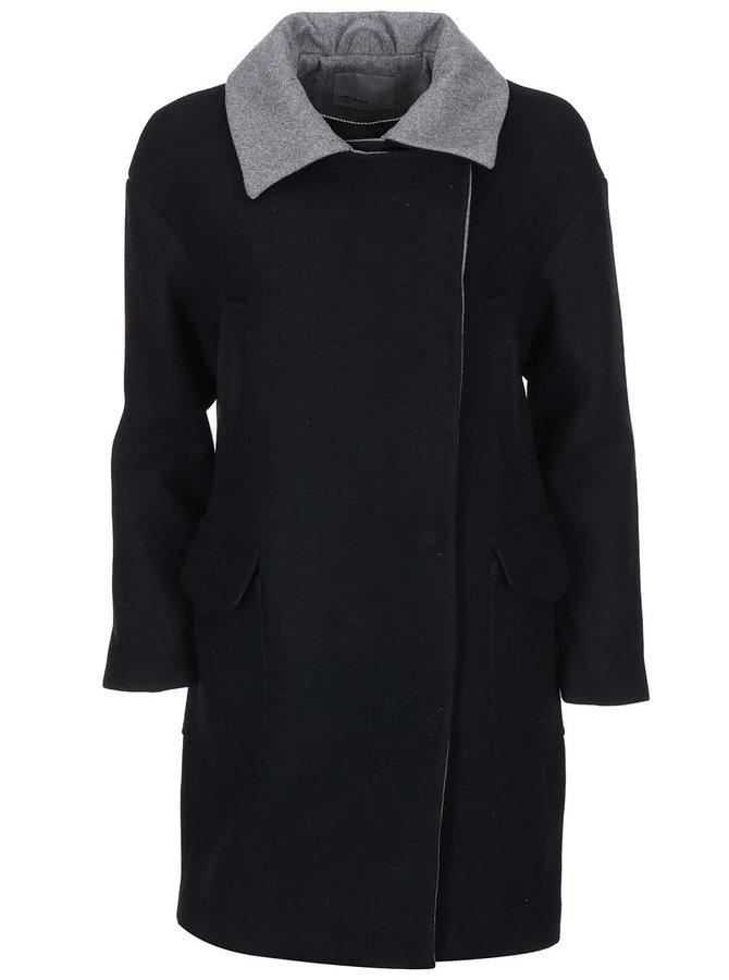 Černý kabát s šedým límečkem VERO MODA Malene