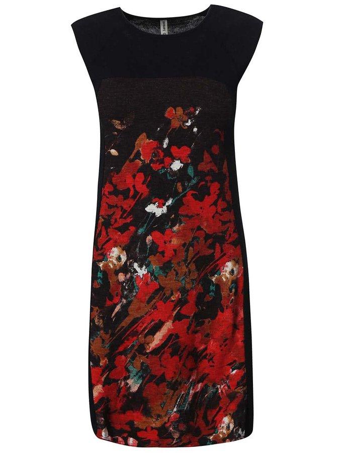 Černé šaty s červeným potiskem Lavand