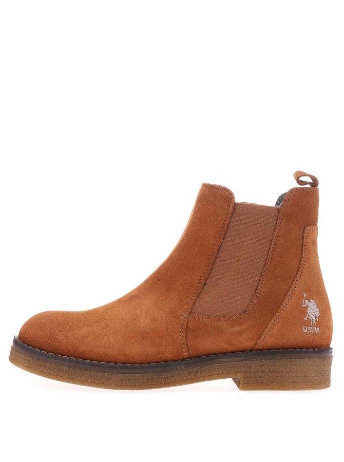 Hnedé dámske kožené topánky U.S. Polo Assn. Margot