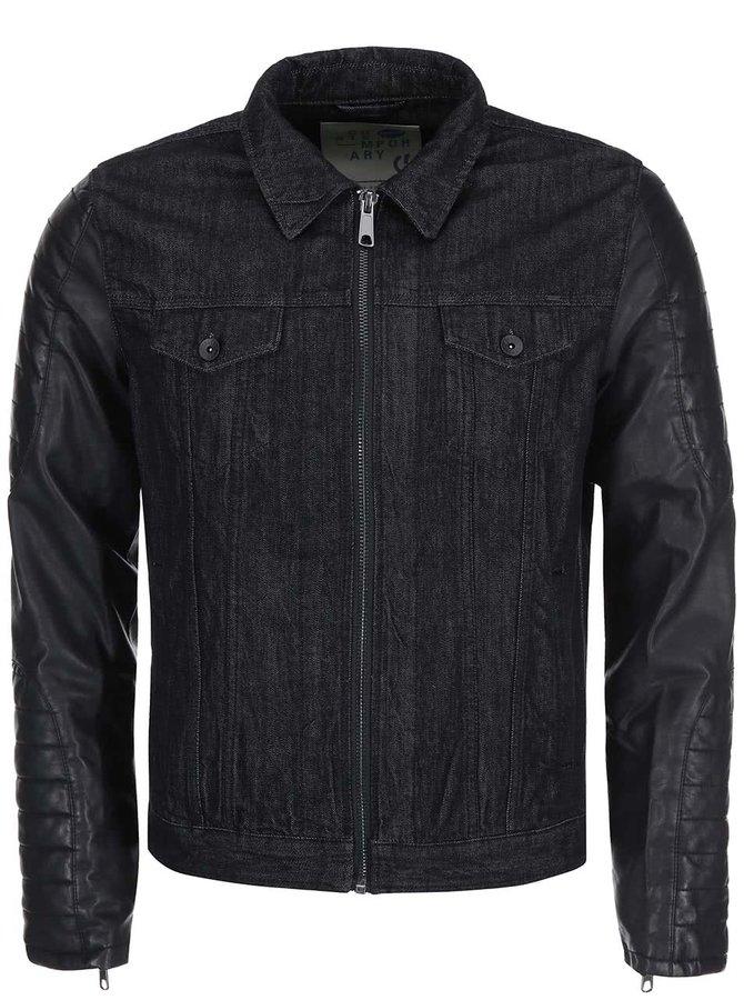 Čierna rifľová bunda s koženkovými rukávmi !Solid Rexford