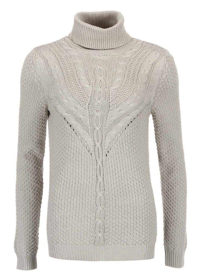 Svetlosivý pletený sveter so vzorom VILA Lilla