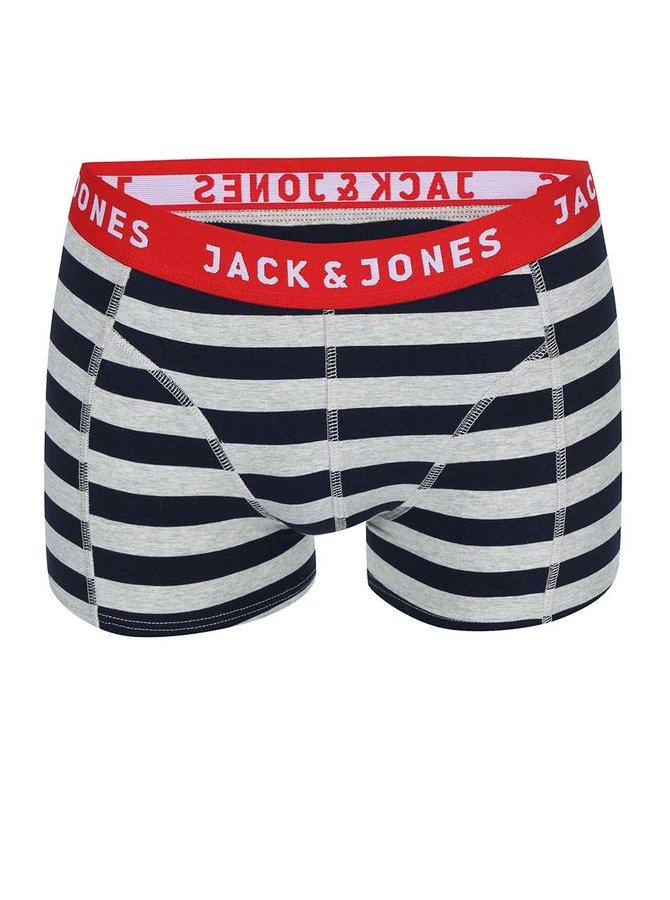 Sivo-modré pruhované boxerky Jack & Jones Yarndyed Block