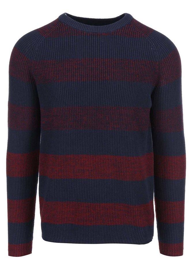Vínovo-modrý pruhovaný sveter Selected Homme Ebbe