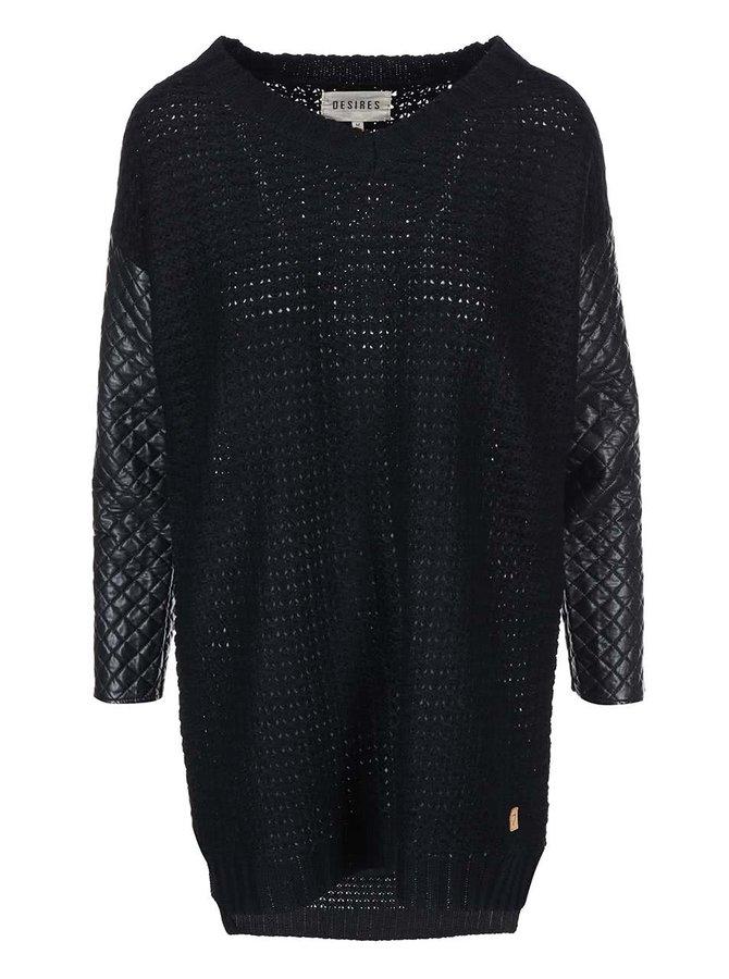 Pulover Jabina negru cu mâneci din imitație de piele de la Desires