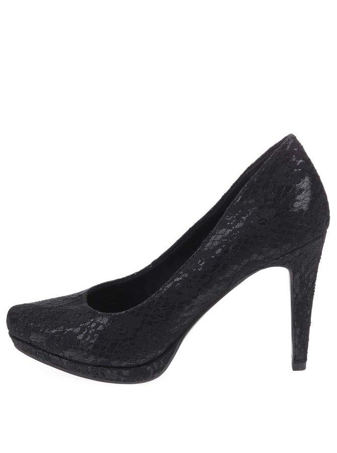 Pantofi negri de dantelă cu toc cui Tamaris