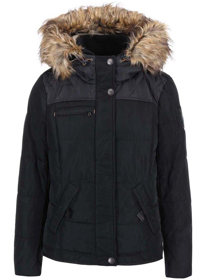 Černá prošívaná bunda s kožíškem ONLY Wonder
