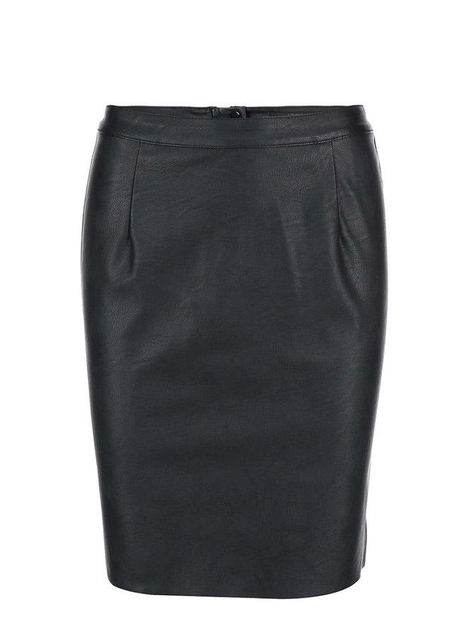 Čierna koženková puzdrová sukňa ONLY Rica