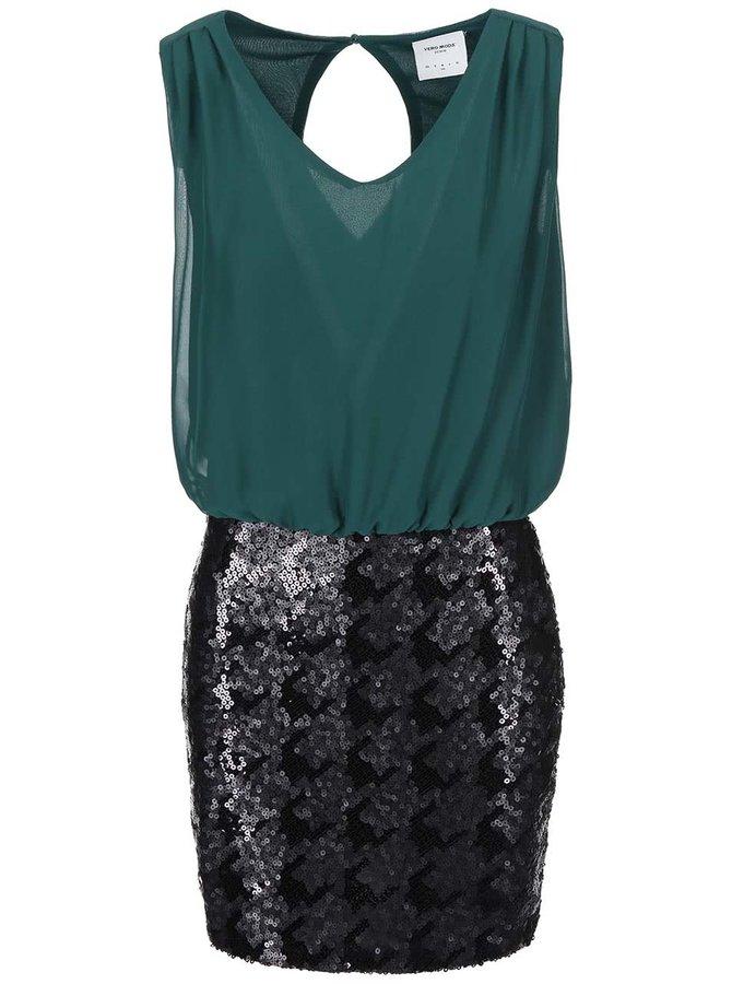 Zelené šaty s flitrovou sukňou Vero Moda Minna