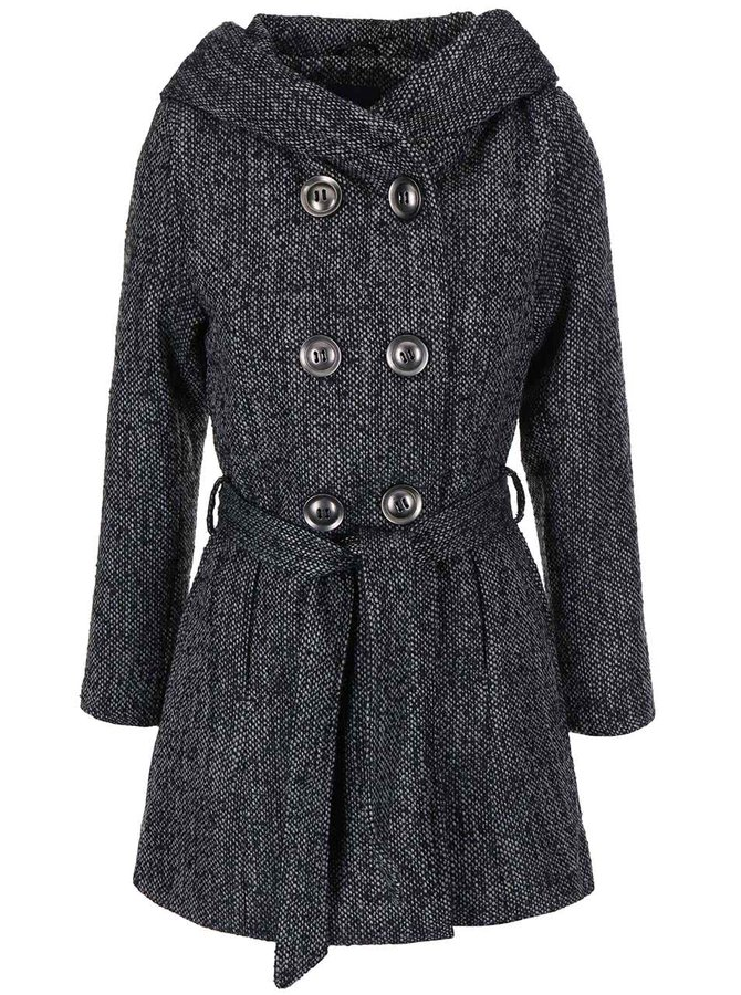 Šedý žíhaný kabát s kapucí Haily´s Gemma