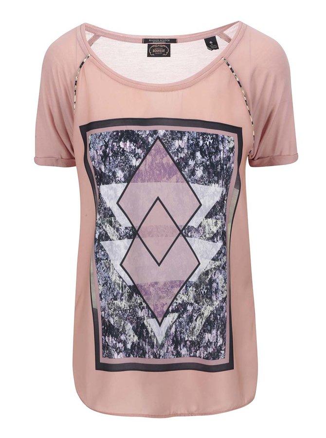 Ružové tričko s potlačou Maison Scotch