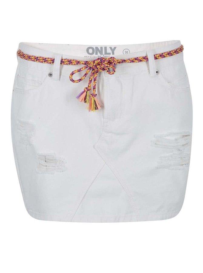 Biela rifľová sukňa ONLY Rosie