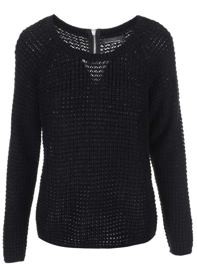 Čierny sveter so zipsom na chrbte ONLY Emma