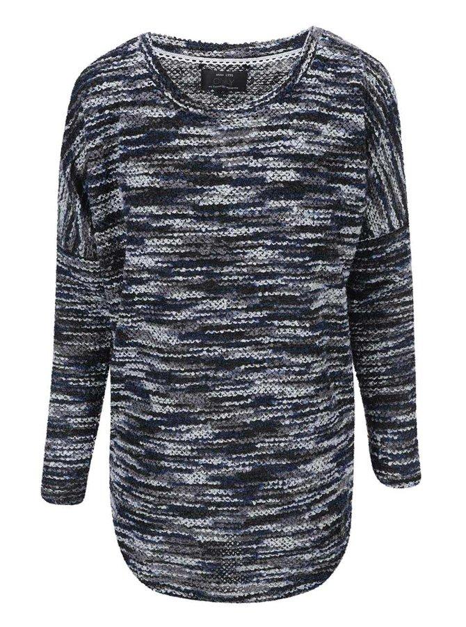 Sivo-modrý žíhaný sveter ONLY Tracy