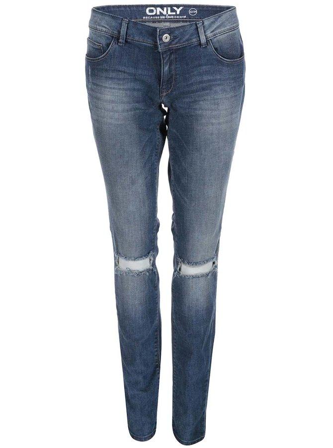 Modré skinny džíny s děravými koleny ONLY Coral
