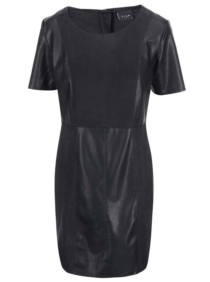 Rochie neagră din combinație de piele artificială și piele întoarsă Vila Dax