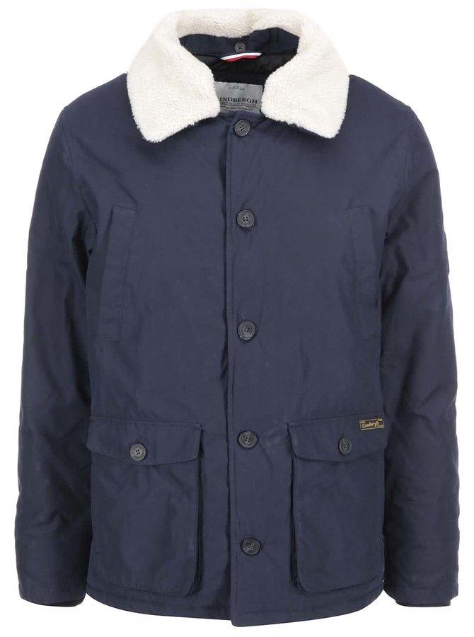 Tmavě modrá bunda s kožešinovým límcem Lindbergh