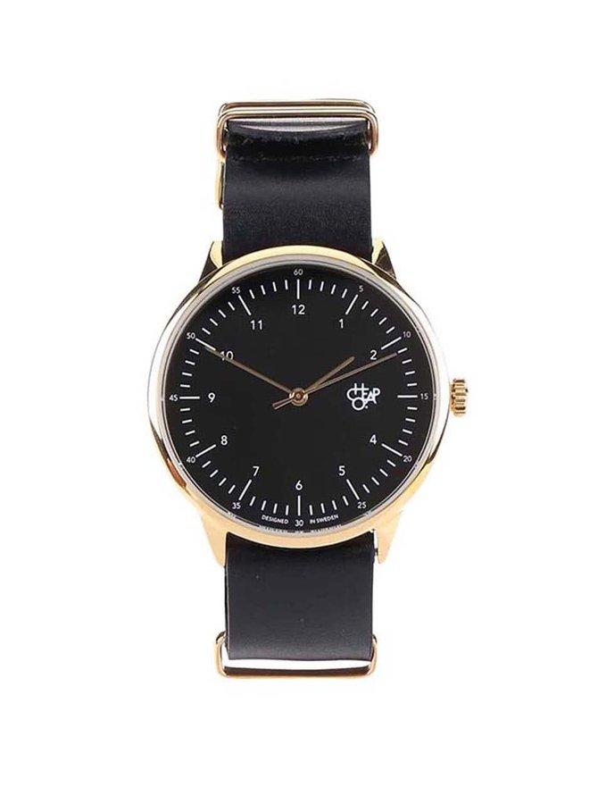 Unisex hodinky ve zlaté barvě s černým koženým páskem Cheapo Harold Gold