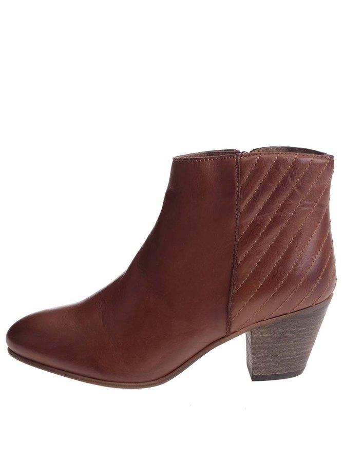 Hnedé kožené členkové topánky ALDO Cadosein