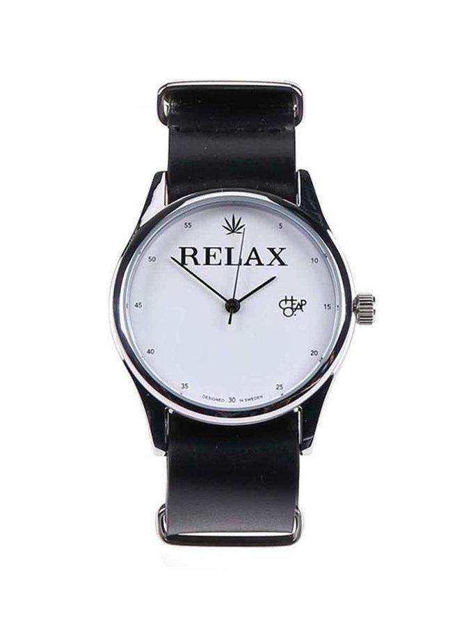 Unisex hodinky ve stříbrné barvě s černým koženým páskem Cheapo Relax