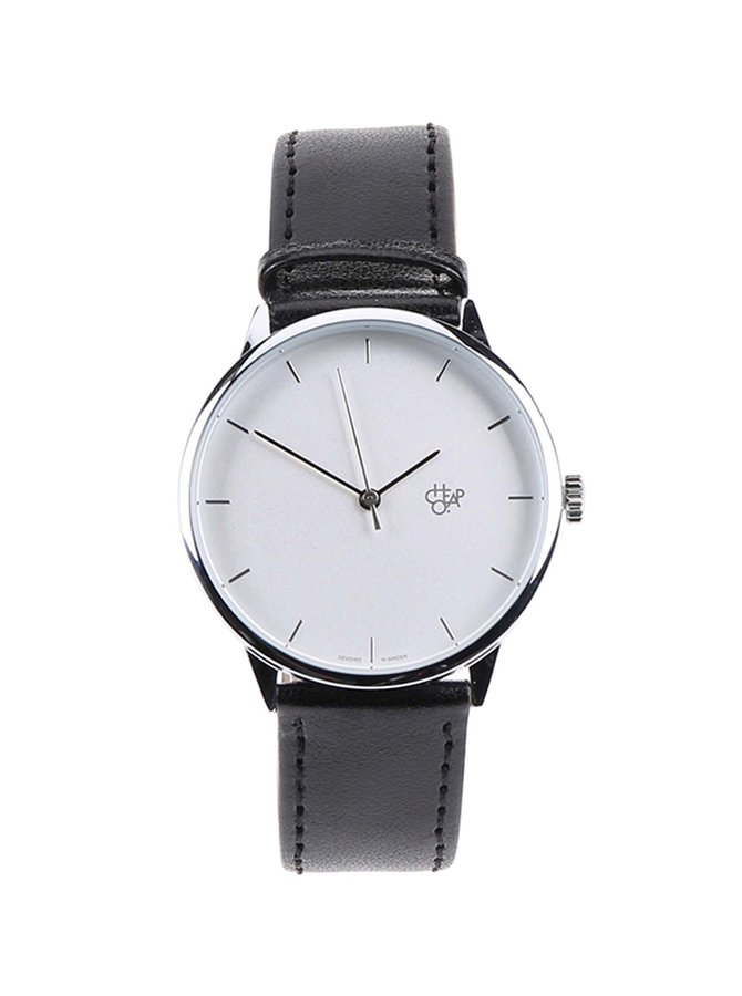 Čierne unisex minimalistické hodinky Cheapo Khorshid Silver