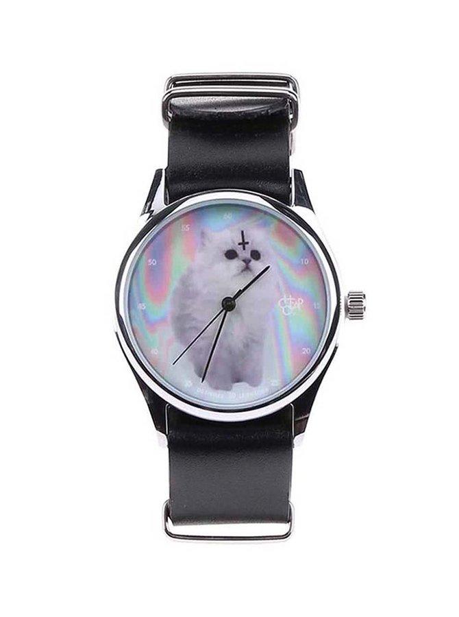 Ceas unisex CheapoCat  negru din piele cu print pe display
