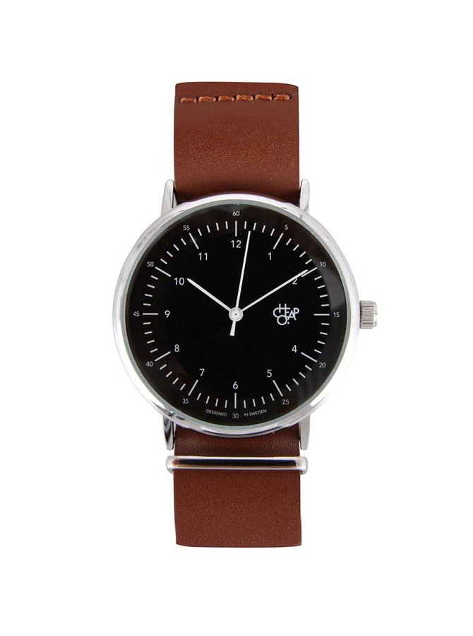 Čierno-hnedé unisex hodinky s koženým remienkom Cheapo Harold