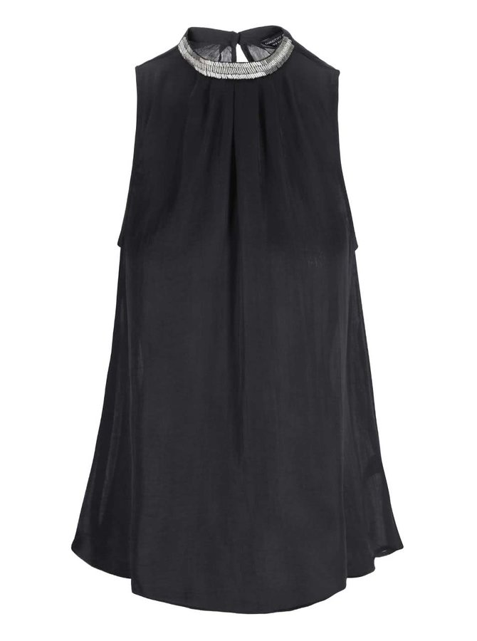 Bluză neagră cu decolteu decorat Dorothy Perkins