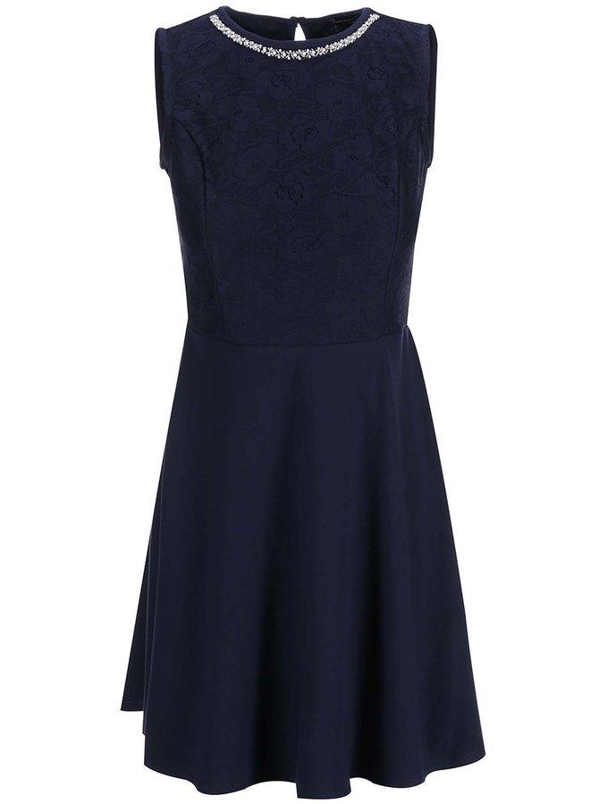Tmavomodré šaty s čipkovaným topom Dorothy Perkins