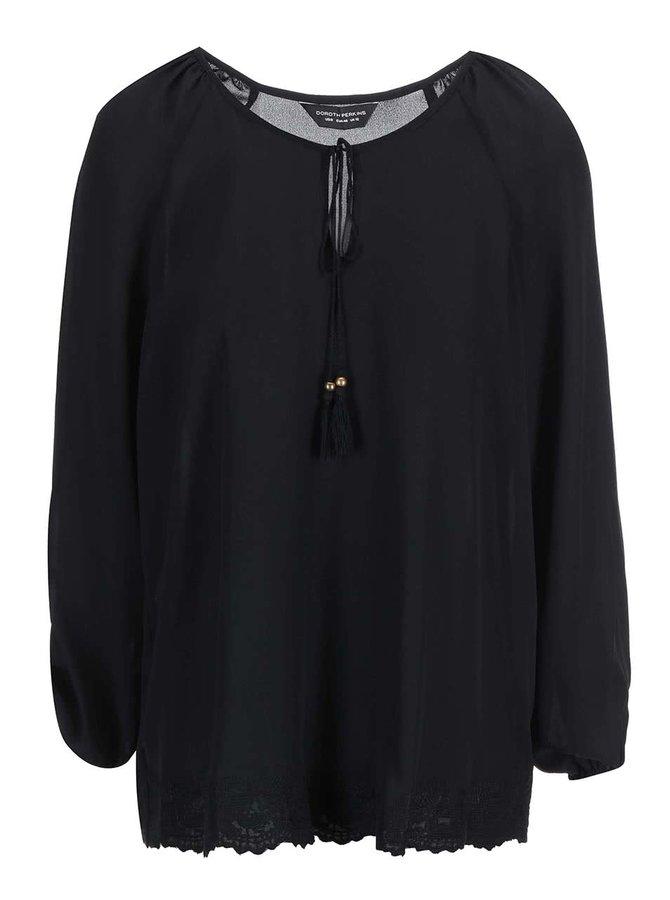 Bluză cu tiv din dantelă Dorothy Perkins - negru
