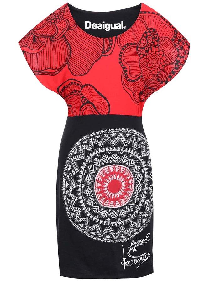 Rochie cu imprimeu roșu și negru Idem Desigual