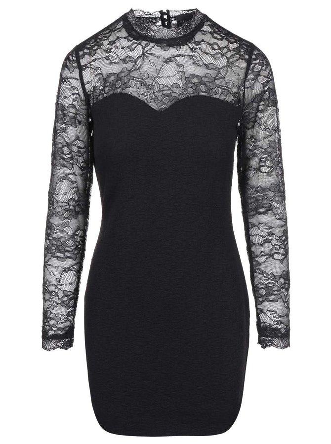 Čierne puzdrové šaty s čipkou VILA Perfecta